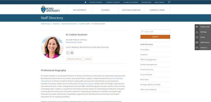 Dr Colette Southam Bond University