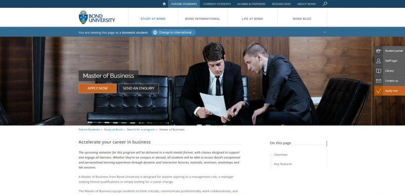 Master of Business Bond University