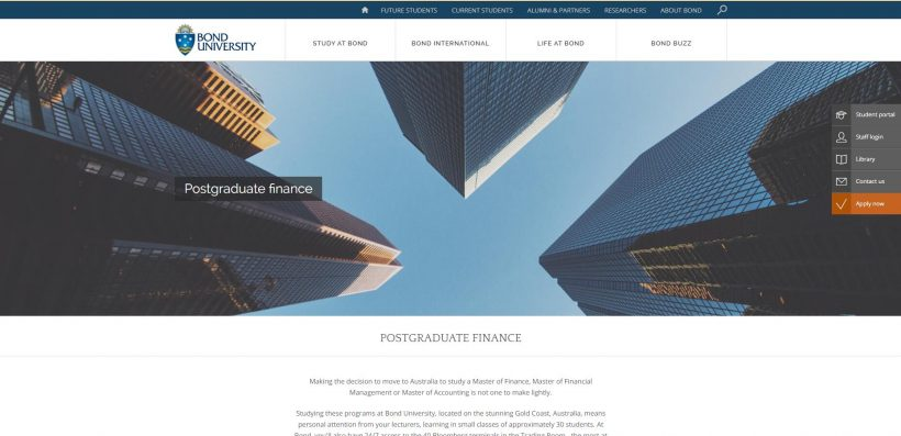 Postgraduate finance Bond University